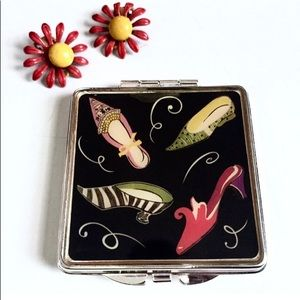 VINTAGE SQUARE COMPACT SHOE THEME DOUBLE MIRROR